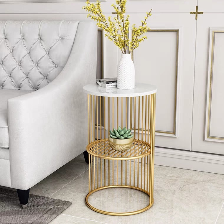 Tiffany Natural Marble White & Gold Round Side End Table