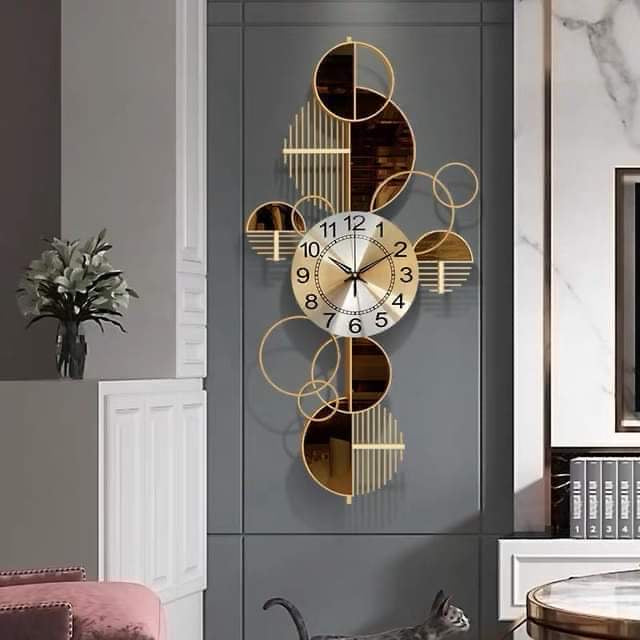 Brown & Gold Wall Clock & Decor (Vertical)