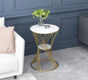Mish Round Marble & Gold Side Table (White)
