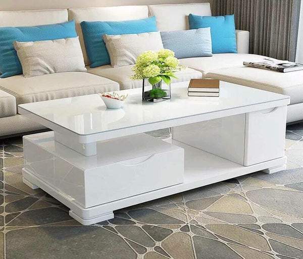 [ Cady ] White Glossy w/ Tempered Glass Center Table