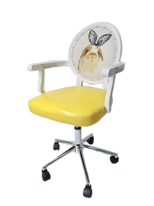 Bunny Print Victorian Yellow Office Chair