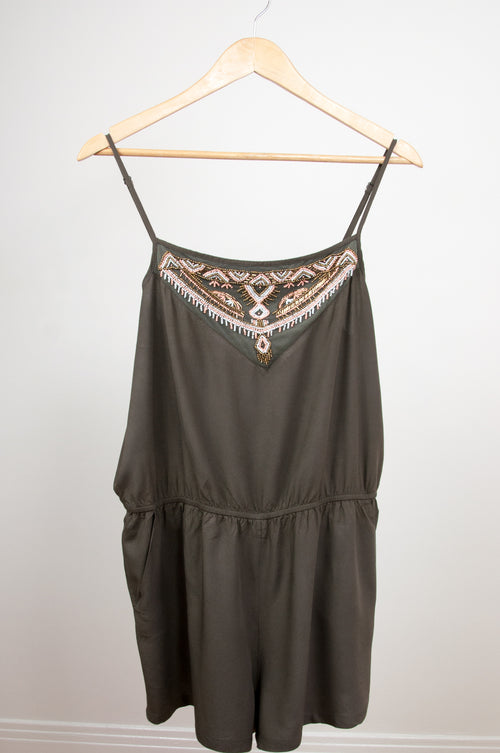 Khaki romper with bead work