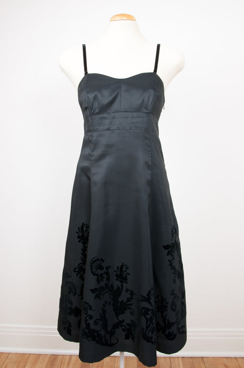 Black satin dress with velvet appliqué