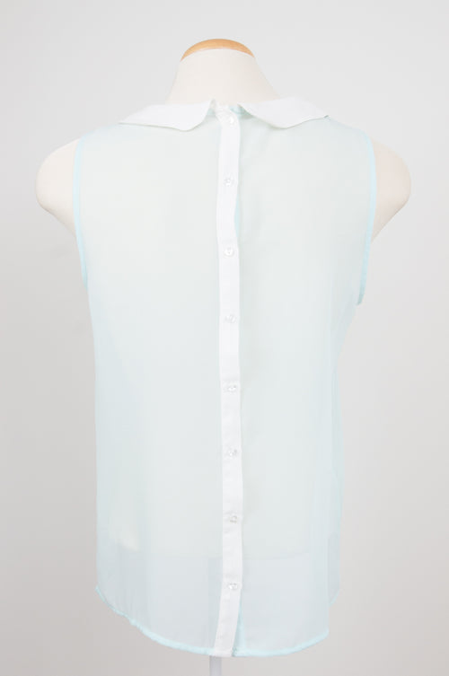 Sheer mint blouse with ivory shirt collar by Trafaluc by Zara at Caravan clothes
