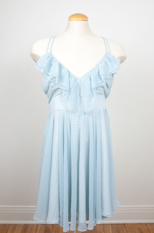 Light pale baby blue striped summer dress by Guess at Caravan clothes