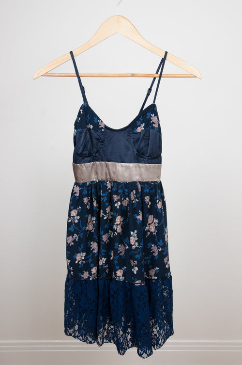 Floral satin bustier sundress by 159-MA at Caravan clothes