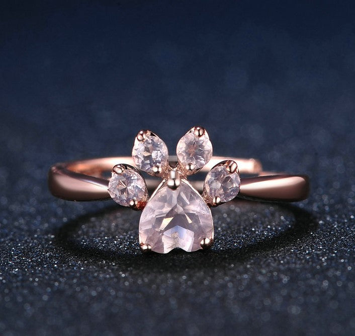 Cutest Paw Cut Created Natural Rose Quartz Ring - Corollaa
