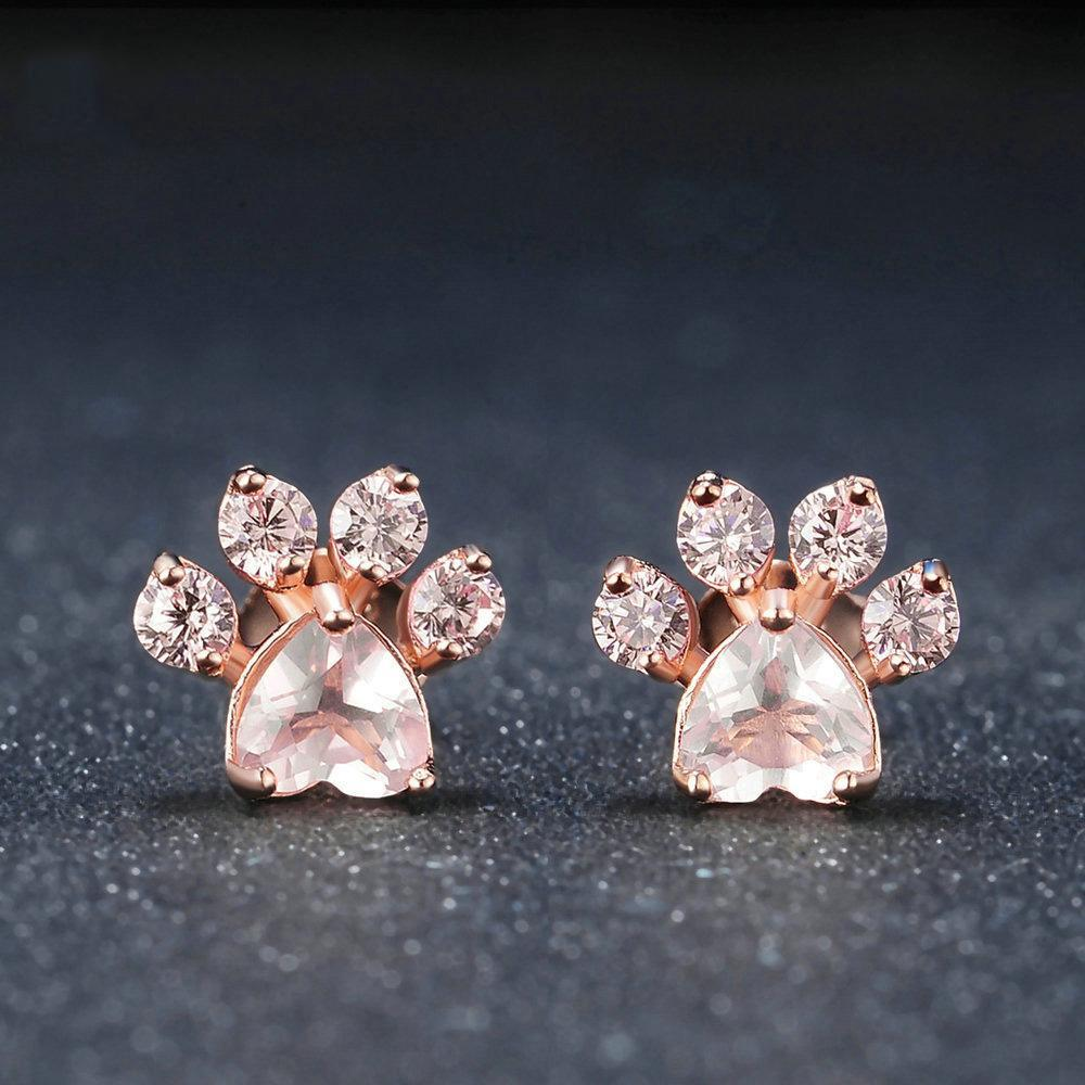 Cutest Paw Cut Created Natural Rose Quartz Earrings - Corollaa