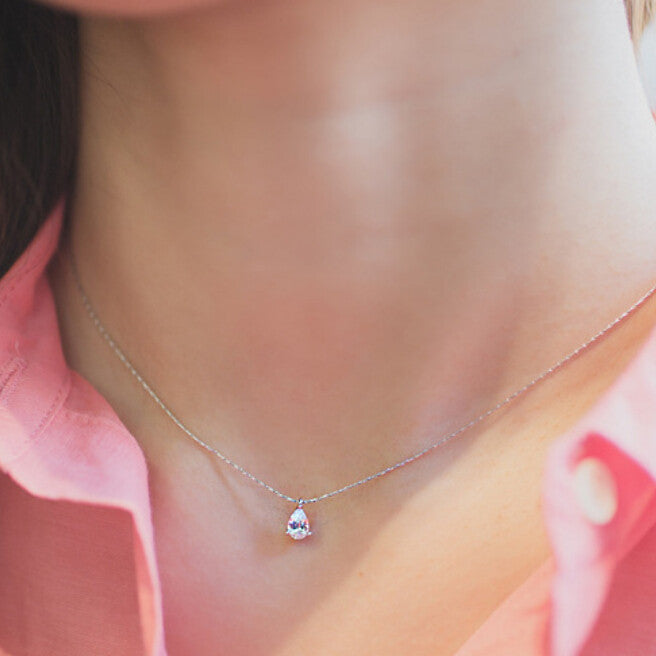 925 Sterling Silver Water Drop Diamond Necklace - Corollaa