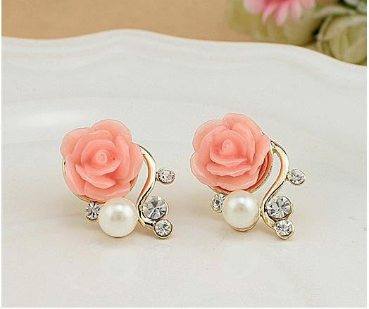 Flower Pink Rose Stud Earrings l Pearl, Crystal - Corollaa