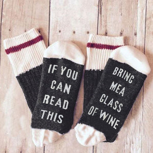 If You Can Read This, Bring Me a Glass of Wine Socks - Corollaa