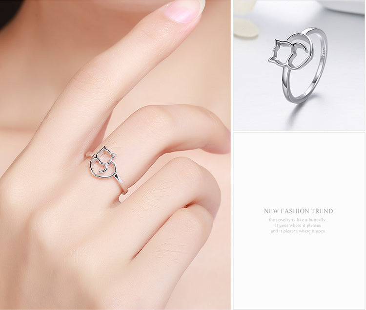 LITTLE CAT & HEART 925 STERLING SILVER RING - Corollaa