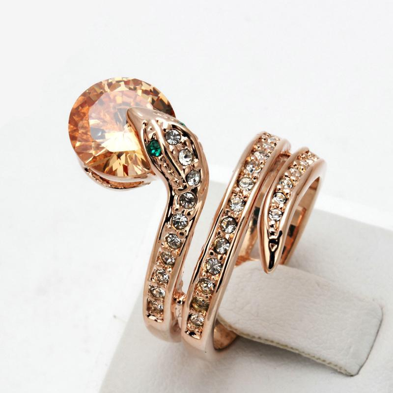 Rose Gold Snake Bead Ring with Crystals - Corollaa