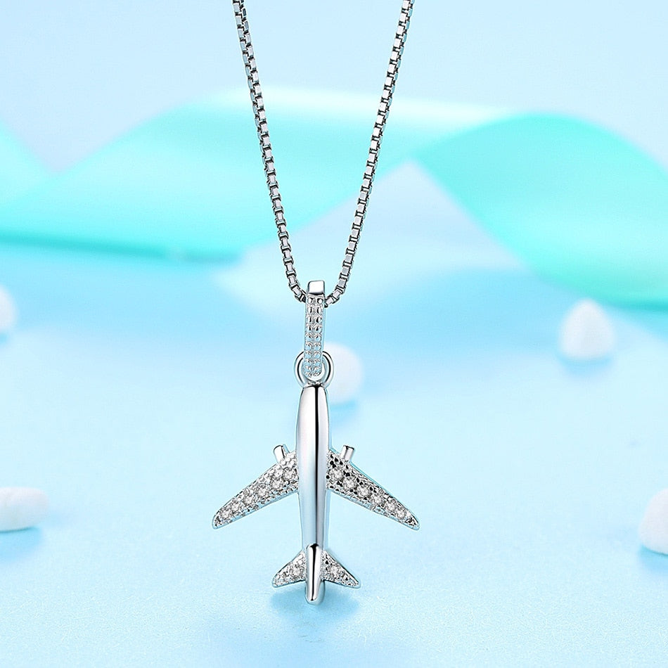 925 Sterling Silver Plane Necklace