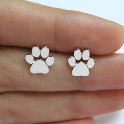 Cute Cat Paw Print Stud Earrings for Women Cat and Dog Paw Stud Earrings - Corollaa
