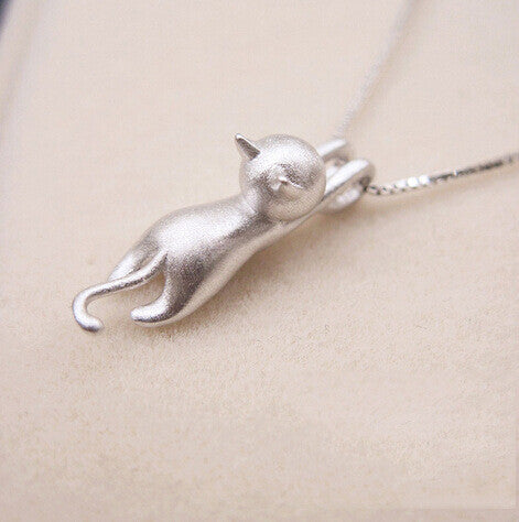 Cute Cat Pendant Necklace Shiny Silver - Corollaa