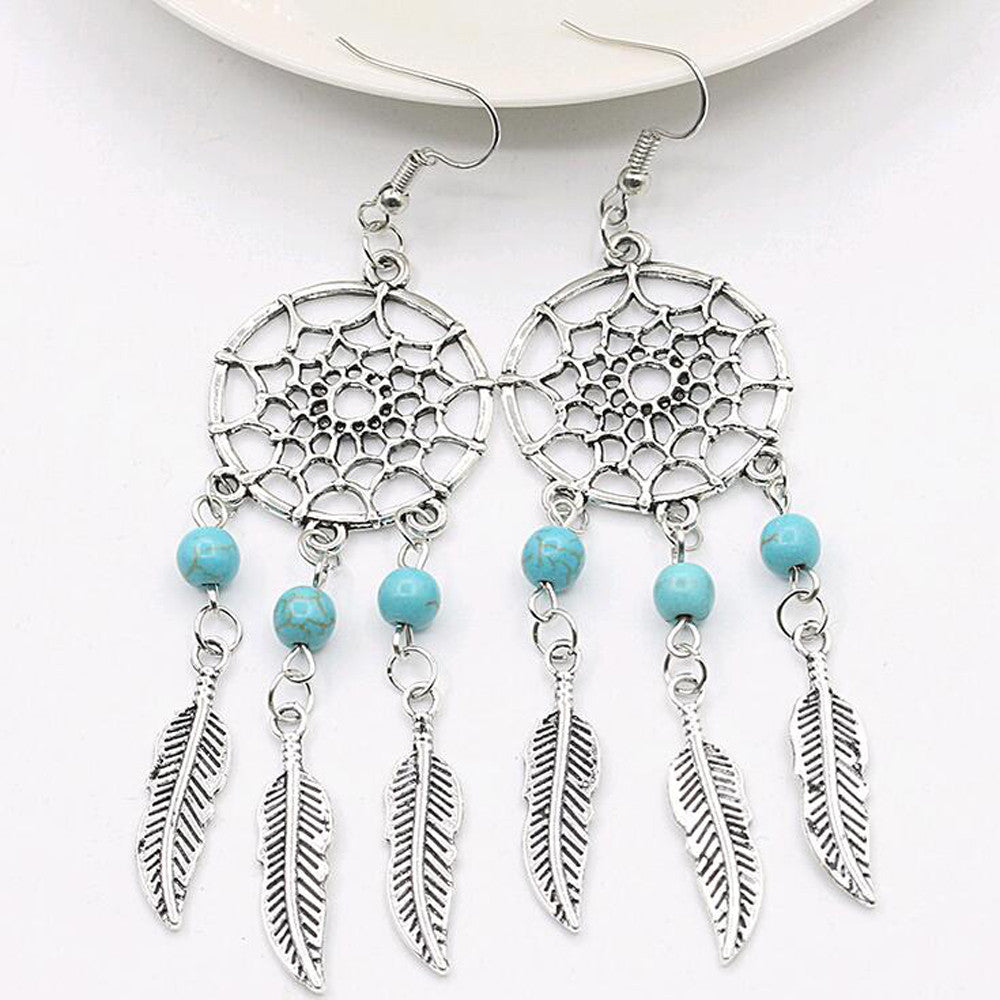 Silver plated Dream catcher Boho Earrings, Feather Earrings - Corollaa