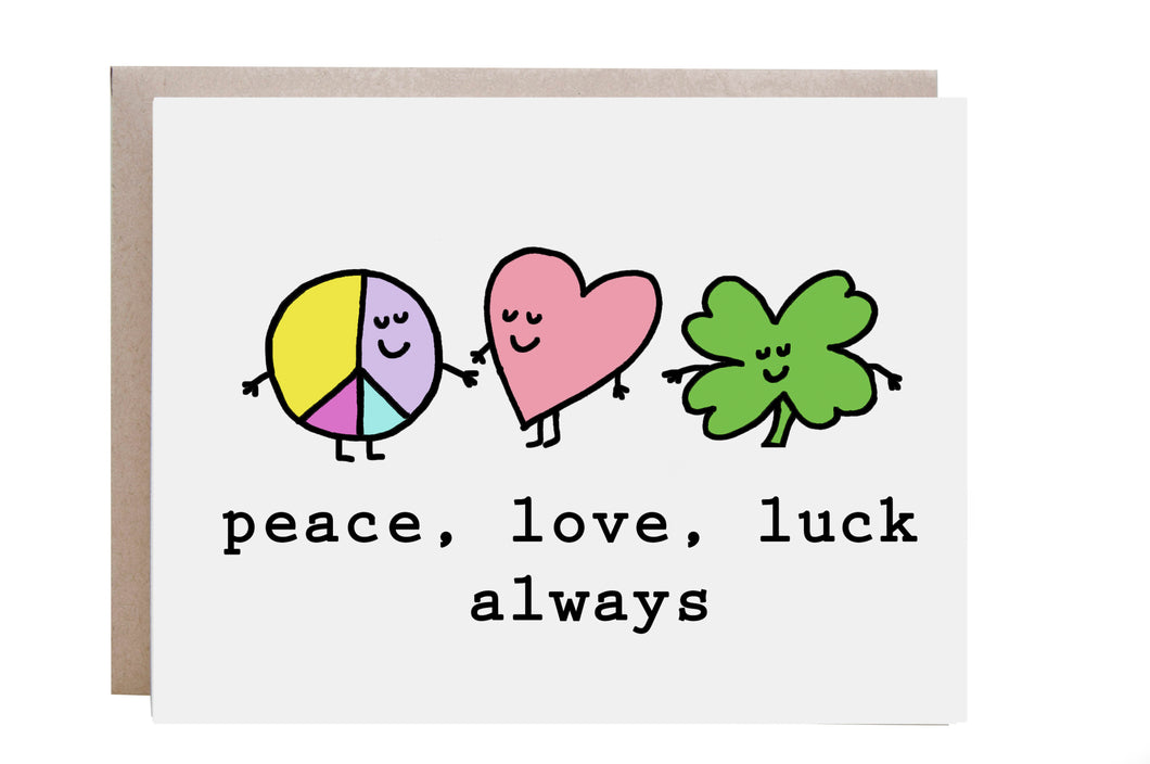 Peace, Love and Luck Card