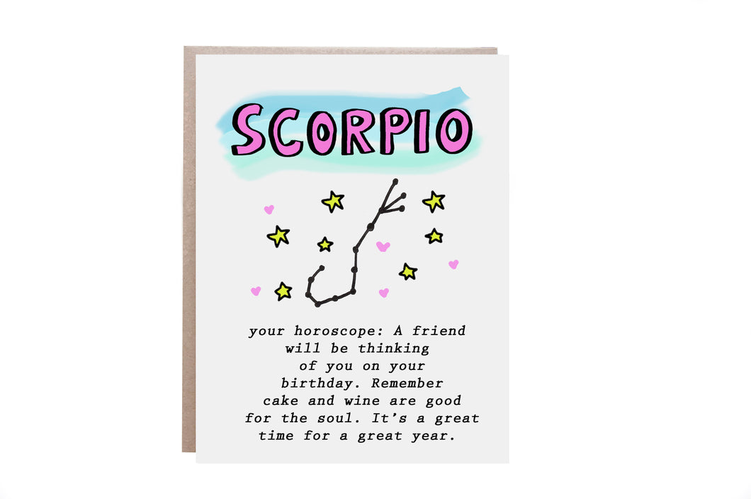 Scorpio Zodiac Birthday Card