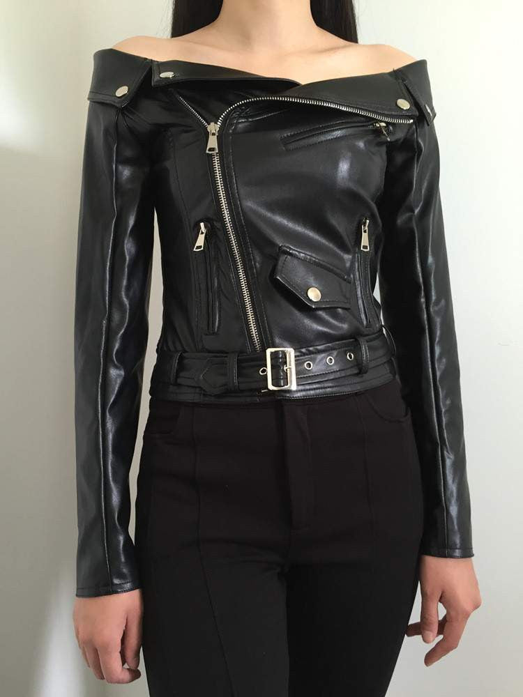 Spellcraft ,jacket,Long Sleeve off the shoulder Greaser Babe PU Leather Jacket Shop FESTIVAL URBAN SEXY UNIQUE GOTH TRENDY FASHION