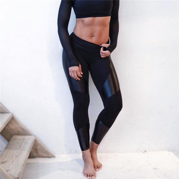 Black Mosaic Sport Leggings-High Waist Leggings