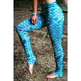 Gradient Blue Mermaid Leggings-High Waist Leggings
