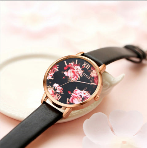 Devine Garden Rose Leather Strapped Watch
