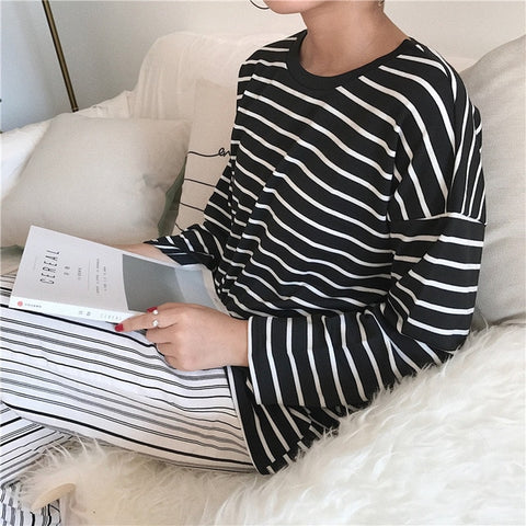 Plain Soft Striped Long Sleeve