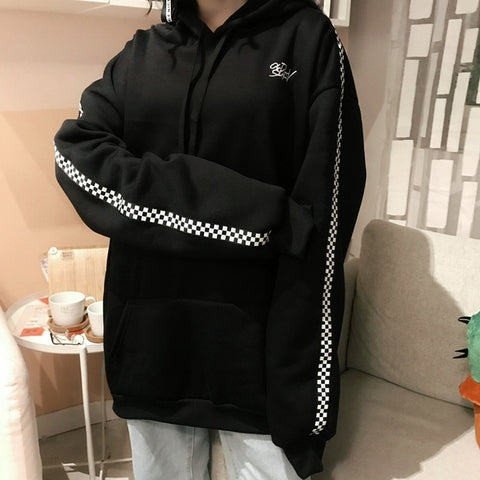 Bay Checkered Velvet Hoodie