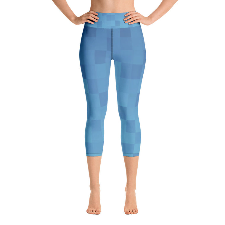 Digital Blue Capris with Waistband (New)