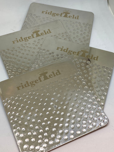 NEW!! Ridgefield Hammered Metal Coaster Set