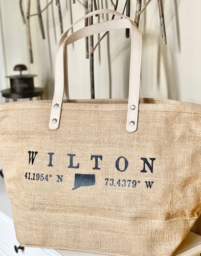 NEW!! WILTON Lat/Long Jute Tote