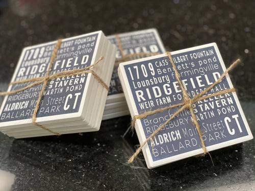 NEW!! Ridgefield Ceramic Subway Art Coaster Set