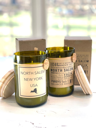 NORTH SALEM Recycled Wine Bottle Soy Candle