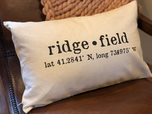 NEW COLOR!! Ridgefield Lat/Long Accent Pillow