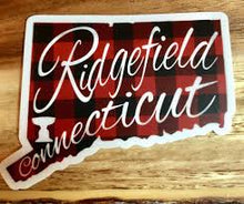 Buffalo Plaid Ridgefield State Typography Sticker