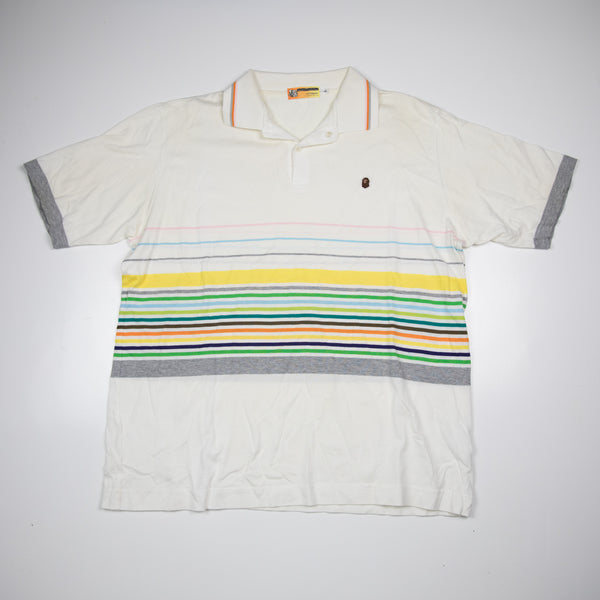 Bape Striped Ape Head Polo Shirt (Large / USED)