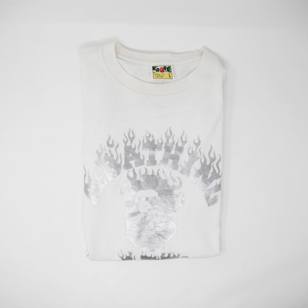 Bape Flame College Silver Tee (Large / USED)