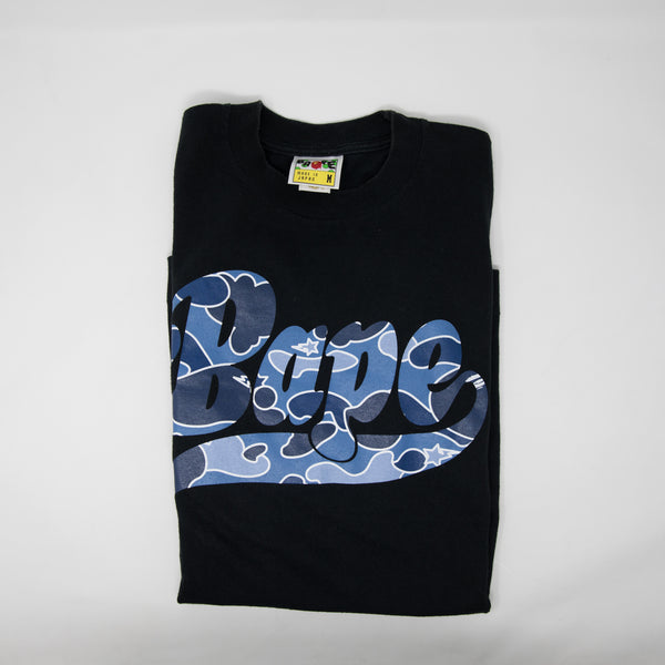 Bape Blue Psyche Camo Logo Tee (Medium / USED)
