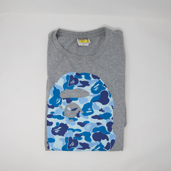 Bape Blue Camo Ape Head Tee (Large / USED)