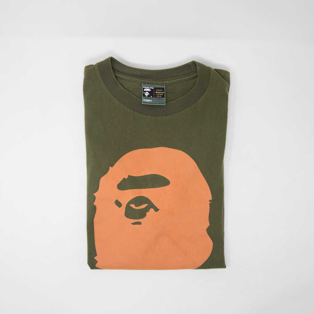 Bape Suede Ape Head Tee Olive (Medium / USED)