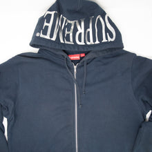 Supreme Foil Logo Zip Up Hoodie Navy (XL / USED)
