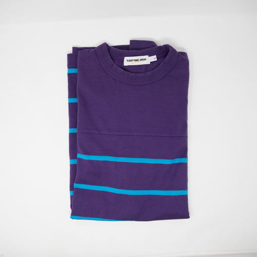 Bape Striped Tee Purple / Blue (Large / USED)