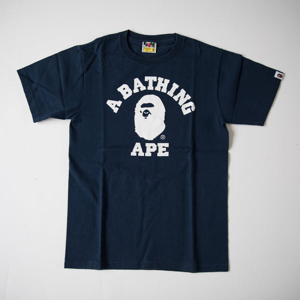 Bape College Tee Navy (Small / USED)
