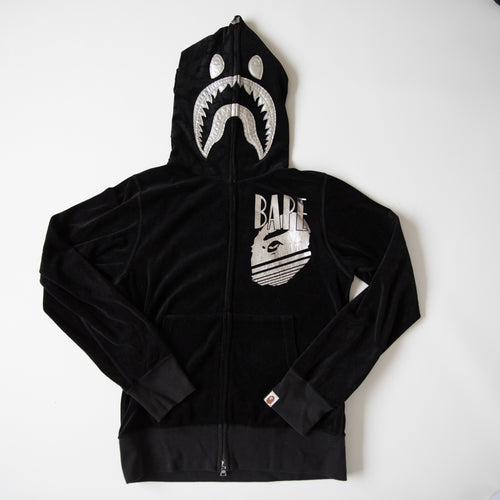 cc1d7c237df Bape Silver Shark Velvet Hoodie Black (Small   USED)