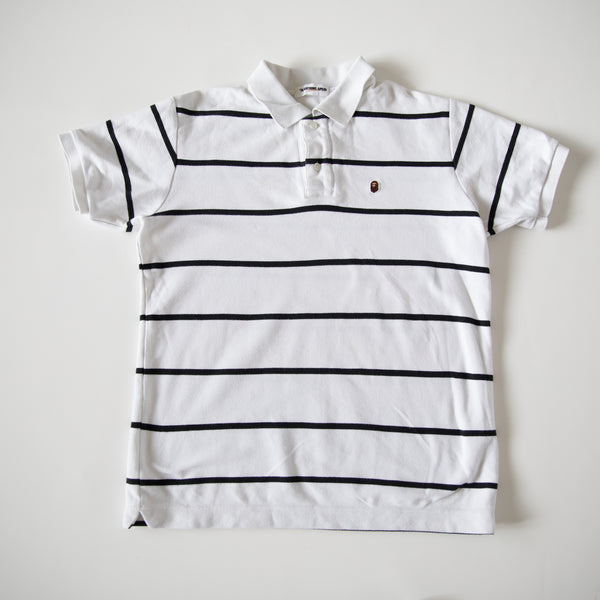 Bape Small Ape Head Striped Polo Shirt (Medium / USED)