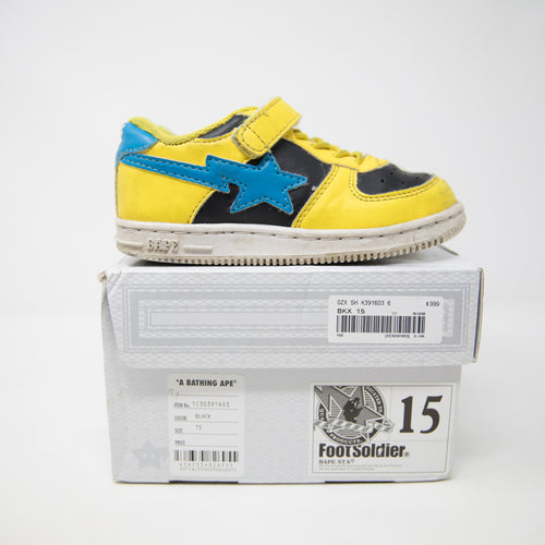 Bape Kids Bapesta Yellow Blue (15cm / USED)