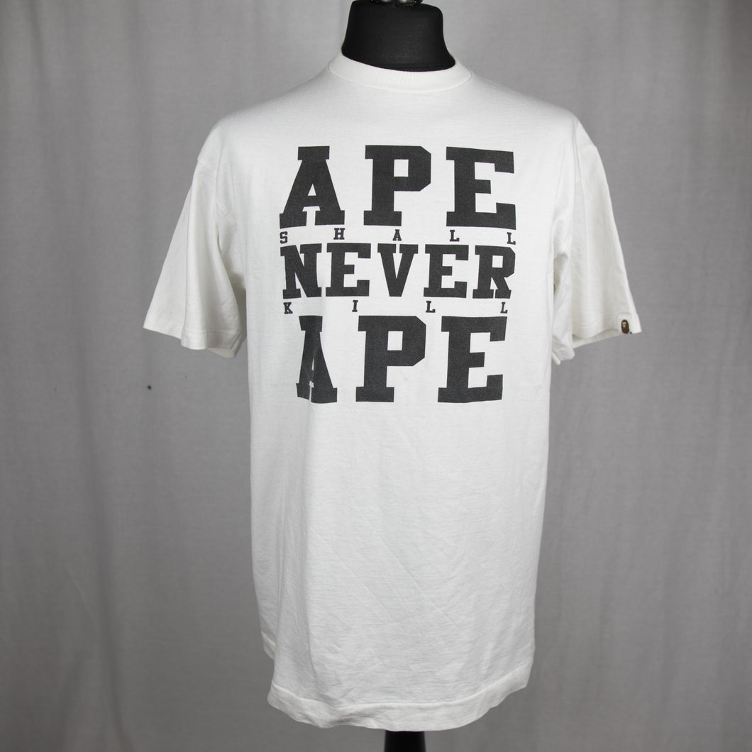 Bape Ape Shall Never Kill Ape Tee White (Large / USED)