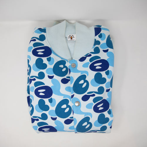 Bape Blue Baby Milo Camo Fleece Varsity Jacket (Large / USED)