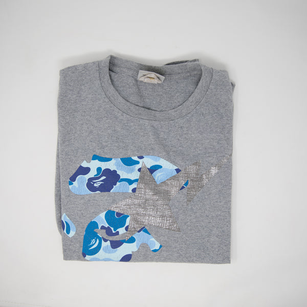 Bapesta on Blue Camo Ape Head Tee Gray (Large / USED)
